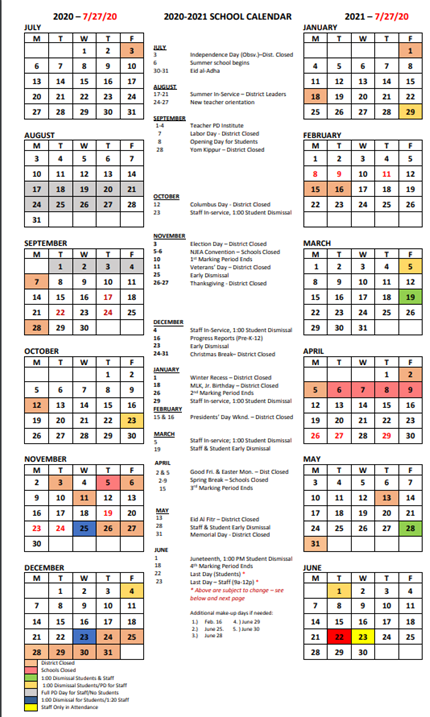 Catholic Charities School Calendar 1